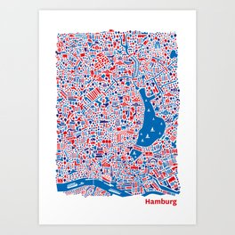 Hamburg City Map Poster Art Print