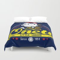 league Duvet Covers featuring Onett little league by TeeKetch