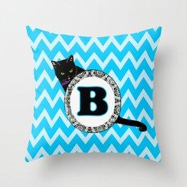 Letter B Cat Monogram Throw Pillow