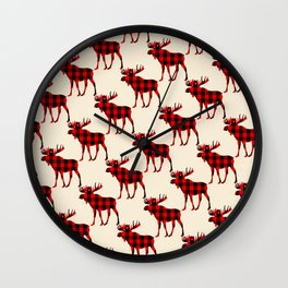Buffalo Plaid Rustic Moose Wall Clock