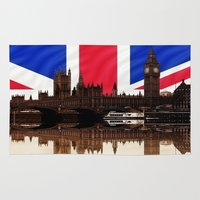 british flag Area & Throw Rugs featuring British politics by Shalisa Photography