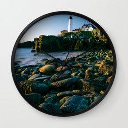 Portland Lighthouse Sunrise View From Rocks Wall Clock
