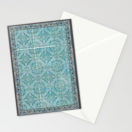 Victorian Turquoise Ceramic Tiles Stationery Cards
