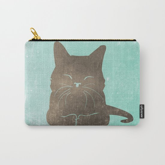 Happy cat illustration in blue and brown Carry-All Pouch