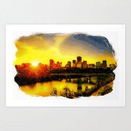Sunset Above Edmonton Downtown And The Saskatchewan River, Canada Art Print