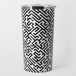 Labyrinth pattern - Black and white pattern Travel Mug