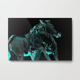 Turquoise Inverse Zebras Metal Print