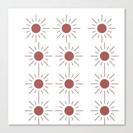 Light Brown Sun Pattern in Transparent Canvas Print