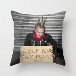 Help Punk Get Drunk Throw Pillow