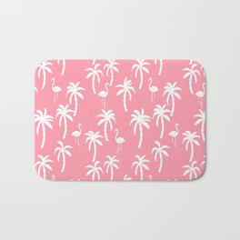 Tropical flamingo and palm trees pattern by andrea lauren cute illustration summer patterns pink Bath Mat