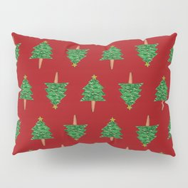Christmas Tree Hand Drawing Pattern on Red Pillow Sham