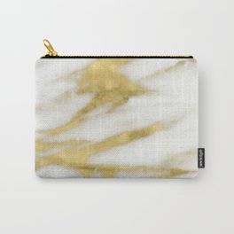 Marble - Gold Marble on White Pattern Carry-All Pouch