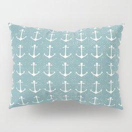 Rustic vintage blue white nautical marine anchor Pillow Sham