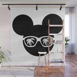 Mouse head sunglasses palm t-shirt Wall Mural