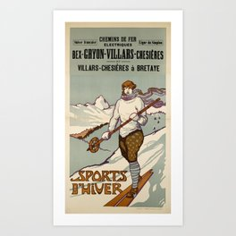 Werbeplakat bex gryon villars chesieres villars bretaye chemins de fer electriques ligne du simplon sports dhiver bvb Art Print