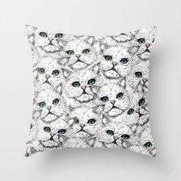 White Kitty Faces Throw Pillow