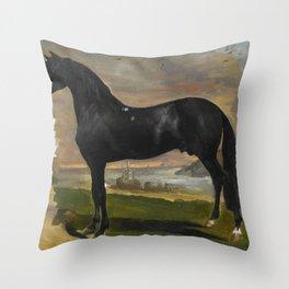 "Théodore Géricault ""L'étalon noir au bord de la mer (The black stallion near the sea)"" Throw Pillow"