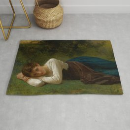 """William-Adolphe Bouguereau """"Le Repos (Jeune Fille Couchée)(Young Girl Lying Down)"""" Rug"""