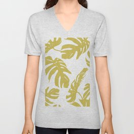 Simply Mod Yellow Palm Leaves Unisex V-Neck