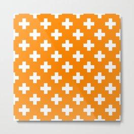 Orange Plus Sign Pattern Metal Print