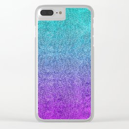 Tropical Twilight Glitter Gradient Clear iPhone Case