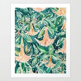 DATURA DREAMS Watercolor Floral Art Print