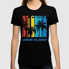 Retro St. Croix Virgin Islands Palm Trees Vacation T-shirt