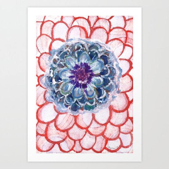 Centered Blue Blossom Art Print