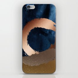 Navy Blue, Gold And Copper Abstract Art iPhone Skin