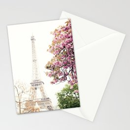 Cherry blossoms in Paris, Eiffel Towerr Stationery Cards