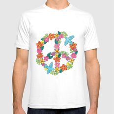 Flower Peace Sign MEDIUM White Mens Fitted Tee