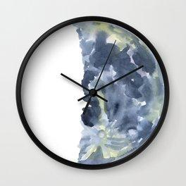 First Quarter Moon Watercolor Wall Clock