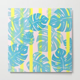 Linocut Monstera Neon Metal Print