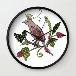 Royal crown bird - white Wall Clock