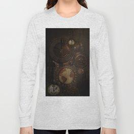 Brown steampunk clocks and gears Long Sleeve T-shirt