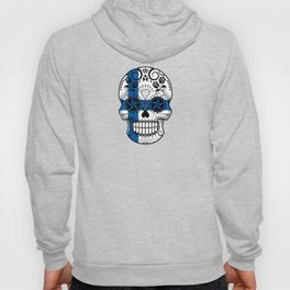 Sugar Skull with Roses and Flag of Finland Hoody