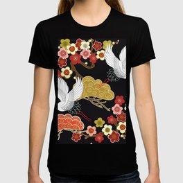 Japanese crane bird hand drawn illustration pattern on dark background.  T-shirt