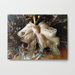 Yellowed Lace Bow Metal Print