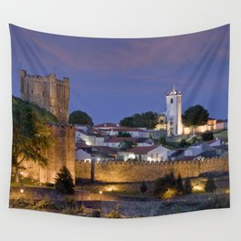Braganca castle at dusk, Portugal Wall Tapestry