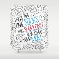 socks Shower Curtains featuring There Are Some Socks - Book Quote Design by Evie Seo