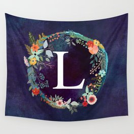 Personalized Monogram Initial Letter L Floral Wreath Artwork Wall Tapestry