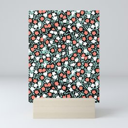 Coral and mint floral Mini Art Print