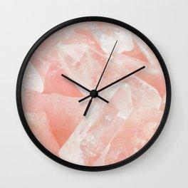 Light Pink Rose Quartz Crystals Wall Clock