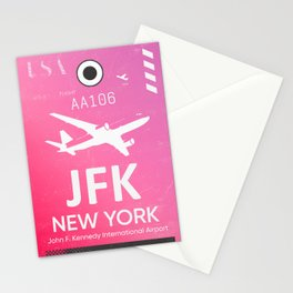 Pink JFK NEW YORK Airport code Stationery Cards