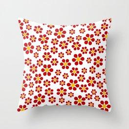 Random Red Flowers Throw Pillow