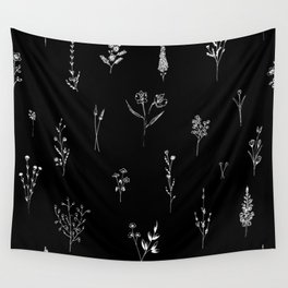Black wildflowes Big Wall Tapestry