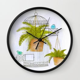 Birds and Ferns Wall Clock