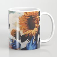 optimus prime Mugs featuring Optimus Prime With Sunflower by Hillary White