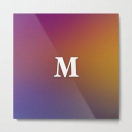 Monogram Letter M Initial Orange & Yellow Vaporwave Metal Print