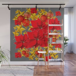 RED-GOLD ORNAMENTS POINSETTIAS  GREY ART Wall Mural